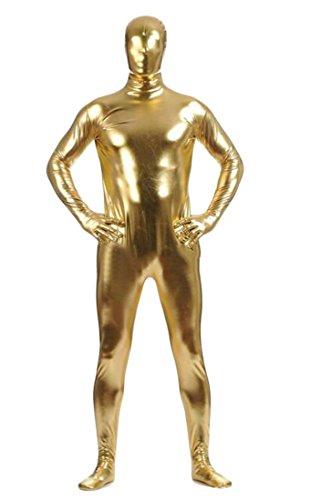 Joe Wenko Men's Metallic Rompers Jumpsuits Sheath Slimming Glitter Pants Trousers Golden Large