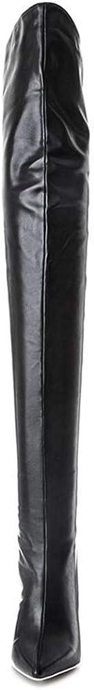 MKXF Stivali sopra il ginocchio Scarpe Stivali donna alta sopra gli stivali al ginocchio Nero