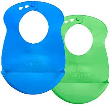Tommee Tippee Easi Roll Bib, 7+ months, Blue and Green, 2 Count