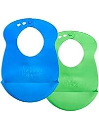 Easi-Roll Up Bib, BPA-free Crumb & Drip Catcher - Blue & Green, 2 Count