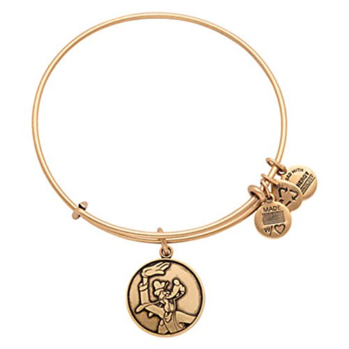 Disney Parks Alex and Ani Goofy Gold Charm Bracelet made in New England