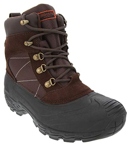 London Fog Mens Woodside Waterproof and Insulated Cold Weather Snow Boot Brown 10