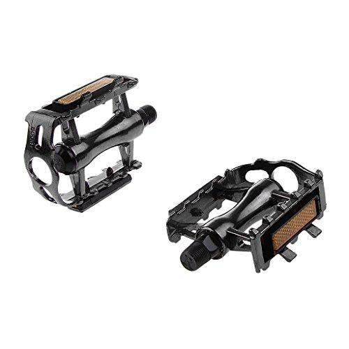 MagiDeal Pedales De Plataforma Plana Par De Aleación De Aluminio MTB Montaña Bicicleta De Carretera - Azul, 11 x 8,5 x 3,1 cm Negro