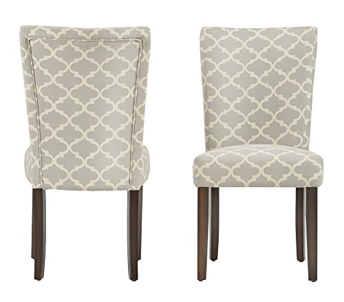ModHaus Modern Light Gray Fabric Moroccan Quatrefoil Pattern Parsons Style Dining Chairs   Wood Finish Wooden Legs - Set of 2 Includes ModHaus Living (TM) Pen