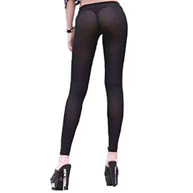 03cccf5b99b975 YiZYiF Women's Stretchy See Through Sheer Long Flare Pants Tight Leggings  (Medium(Waistline 18.0