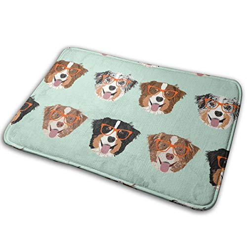 Australian Shepherds Glasses - Cute Dogs and Glasses Design - Mint_2230 16X24 Inch Welcome Mat with Anti-Slip Rubber Carpets Floor Mat for High Traffic Areas ()