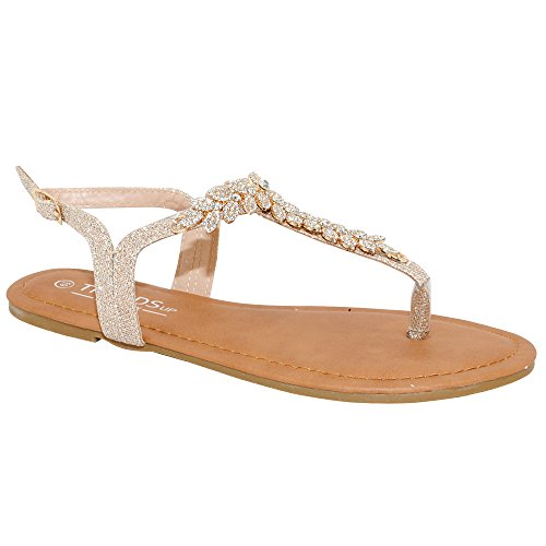 TRENDSup Collection Womens T-Strap Buckle Flats Sandals (9, Champagne Glitter) (T-strap Sandals Embellished)