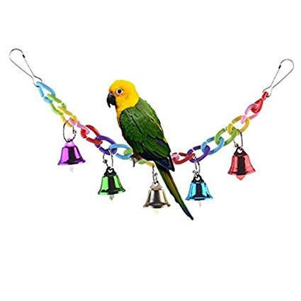 Croppycute Colourful Ringer Bells Bridge Ladder Climbing Swing Pet Toy for Bird Parrot African Greys Macaw Budgies…