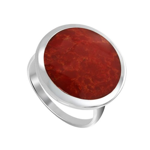 Gem Avenue 925 Sterling Silver 17mm Round Red Coral Gemstone Ring (Silver Coral)