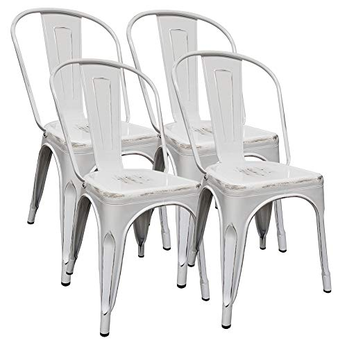 H JINHUI Metal Dining Chairs, Set of 4 High Back Patio Dining Chairs, White 18 inches Height Distressed Dining Chair with Foot Pads