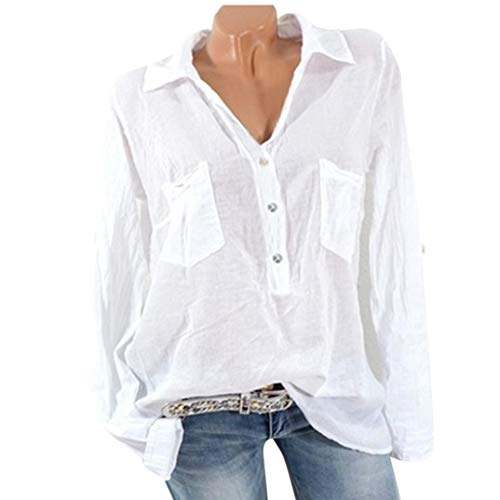 FEITONG Women Pocket Soild Casual Top T Shirt Long Sleeve Blouse(S,White) by FEITONG