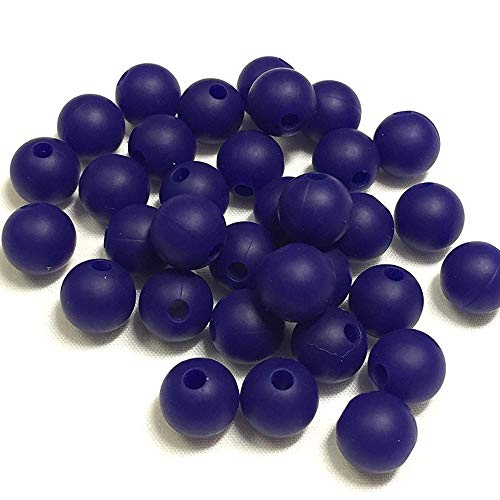 100PC 12mm Premium Round Silicone Loose Bead for Sensory Teethers, Nursing Necklaces, Bracelets and Fashionable Jewelry | Chewing Beads (12mm, 20 Navy) - Navy Blue Beads