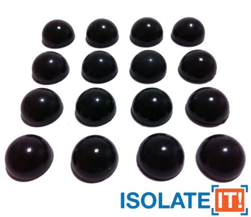 1/2'' Dia Sorbothane No-Stain Hemisphere Bumper Non-skid Feet 70 Duro with Adhesive - 16 Pack by Isolate It! (Image #1)