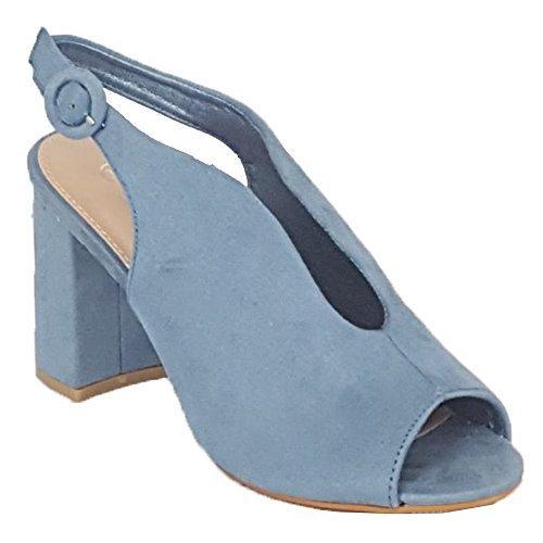 Ouvert Bleu Mules Femmes 7721 Bloque Look Femmes Sandales Bout Pour Boucle Escarpin Daim MCM Fête wOvTaa