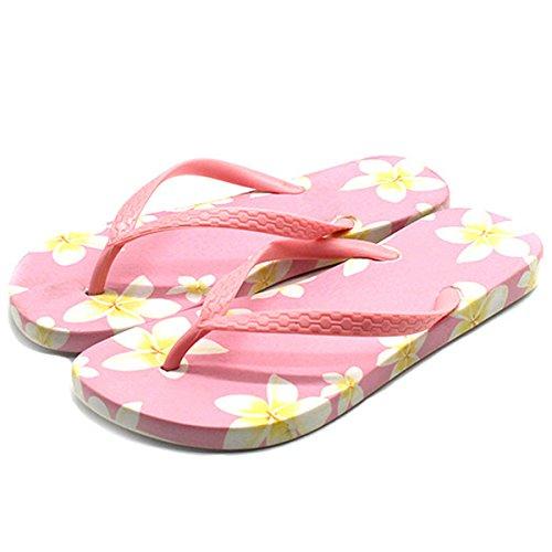 Kjære Tid Kvinner Sommeren Flip Flops Sandaler Uformell Floral Stranden Plattform Aurlandssko Rosa
