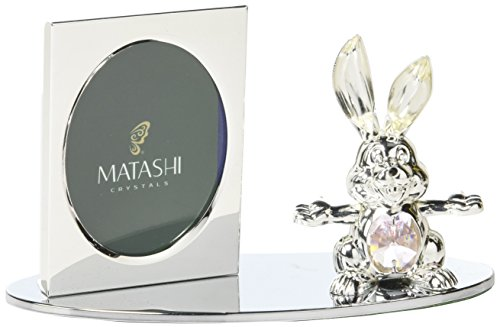 Matashi Silver Plated Picture Frame with Crystal Decorated Cartoon Bunny Figurine on a -