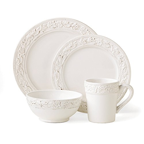 (Pfaltzgraff 5064378 Country Cupboard Dishwasher and Microwave Safe 4-piece Place Setting, Service for 1, White)