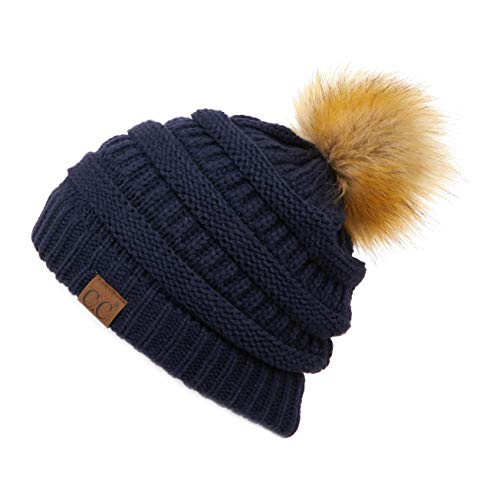 Hatsandscarf CC Exclusives Unisex Ombre Ribbed Confetti Knit Beanie with POM (HAT-43) (Navy)