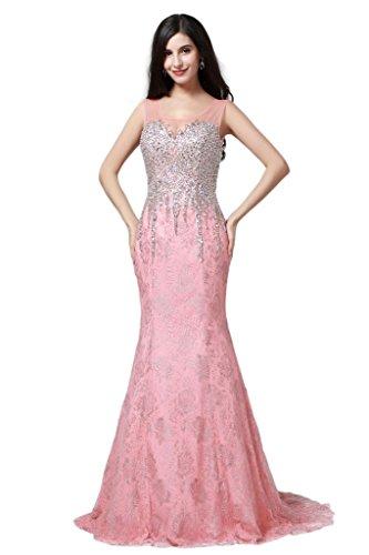 HarveyBridal Key Hole Sheer Back Mermaid Lace Formal Evening Dress Pink