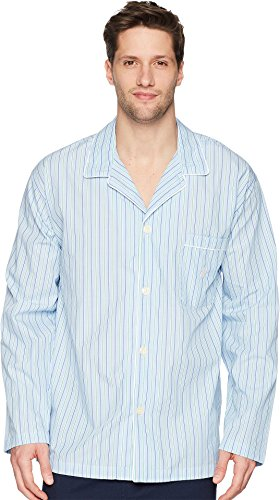 Ralph Lauren Mens Pajamas - Polo Ralph Lauren Men's Woven Stripe PJ Top Bari Stripe Large
