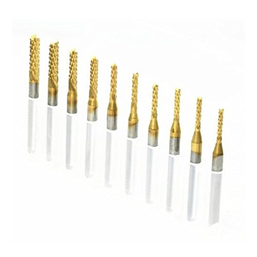 Shina 10 Titanium Coat Carbide 1.5mm-3.175mm End Mill Engraving Bits CNC Rotary Burrs Set (ST1.5-3.175mm-10Ti)