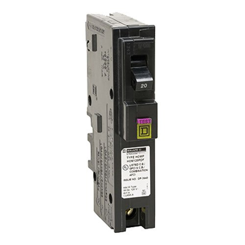 Square D by Schneider Electric HOM120PDFC Homeline Plug-On Neutral 20 Amp Single-Pole Dual Function (CAFCI and GFCI) Circuit Breaker, , by Square D by Schneider Electric