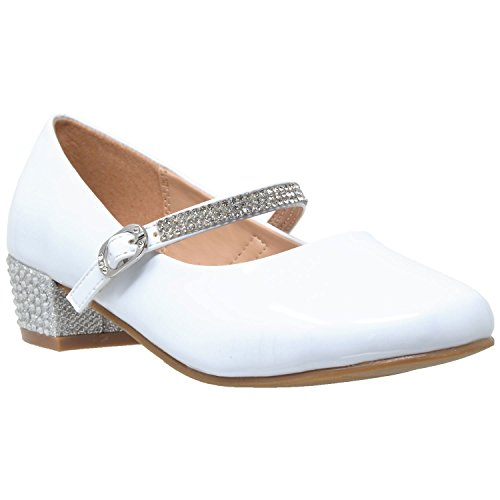 SOBEYO Kids Dress Shoes Rhinestone Strap Low Heel Mary Jane Girls Pumps White SZ 4 Youth -