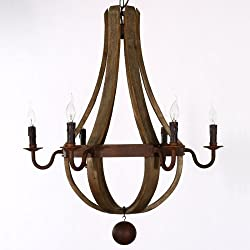 34 Inches Farmhouse Wood Rustic Chandelier Pendant Ceiling Light Fixture French Country Wood Metal Wine Barrel Foyer (6 Light Heads) Rustic Iron