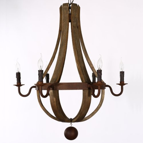 34 Inches Farmhouse Wood Rustic Chandelier Pendant Ceiling Light Fixture French Country Wood Metal Wine Barrel Foyer (6 Light Heads) Rustic Iron (Barrel Wine Light)