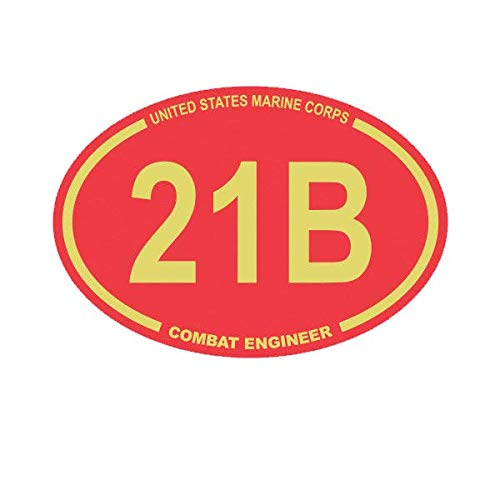 ION Graphics Magnet United States Marine Corps MOS 21B Combat Engineer Red Oval Magnetic Vinyl USMC Semper 5