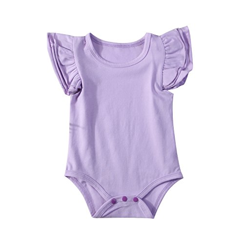 (Infant Baby Girl Basic Ruffle Short Sleeve Cotton Romper Bodysuit Tops Clothes ,Purple,18-24 Months(100) )
