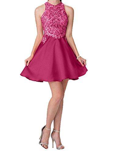 Kleider Abendkleider Festlichkleider Mini Dunkel Spitze Partykleider Charmant Kurzes Damen Jugendweihe Cocktailkleider Pink Xq7wq0tz