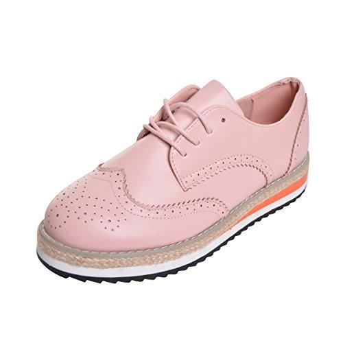 Geachte Tijd Creepers Brogue Schoenen Snoep Kleuren Vintage Oxfords Platform Sneakers Roze