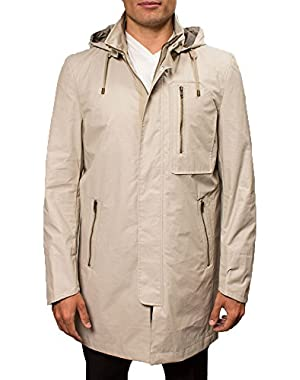 Men's Zip Front Rain Jacket With Chest Pocket