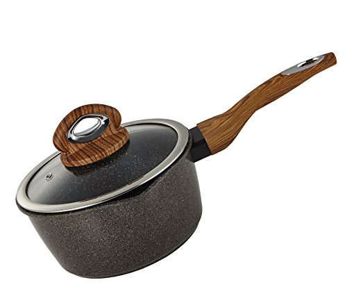 Yzakka 1qt Saucepan Stone Earth Nonstick Induction Saucepan Specialty Small Saucepan Cookware Handy Sauce Pans Food Boiler with Glass Lid ()