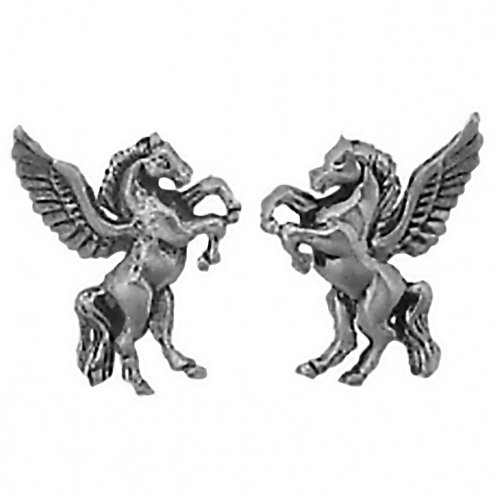 CM 925 Sterling Silver Pegasus Earrings Studs Tiny Mini Winged Horse Stainless Steel Posts -