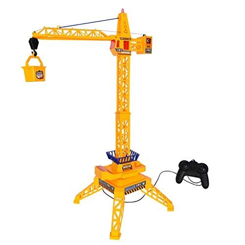 Perfk イエロー クレーンリフト クローラクレーン玩具 リモコン トラックモデル おもちゃ プラスチック製