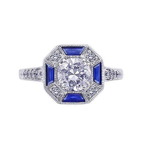 Platinum-Plated Sterling Silver Simulated Diamonds Created Blue Sapphire Art Deco Style Ring, Size 10 (Platinum Blue Sapphire Ring compare prices)