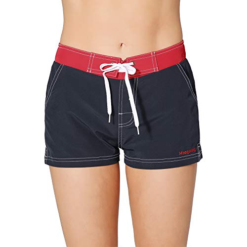 (Meegsking Women Quick Dry Swimwear Trunks Sports Board Shorts with Soft Briefs Inner Lining Navy/Red )