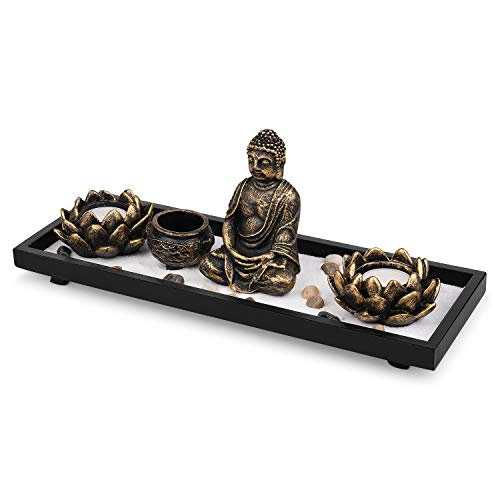 Flexzion Zen Garden Meditation Kit, Mini Asian Sand Garden w/Buddha Statue Lotus Candle Holder Incense Burner Fragrant Sticks Rake Natural Stones White Sand, for Peace Relaxation/Office Home, Brown