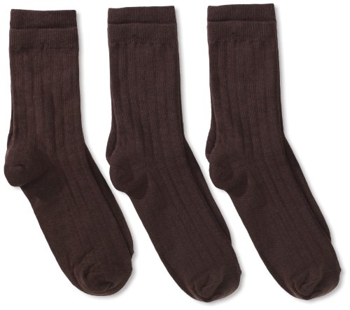 Jefferies Socks Big Boys' Rib  Crew Socks (Pack of 3), Chocolate, - Chocolate Apparel Big Kids Brown