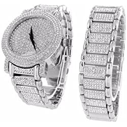 Watch And Bracelet Gift Set For Men 14k White Gold Finish Hiphop Iced Out Lab Diamonds Analog New