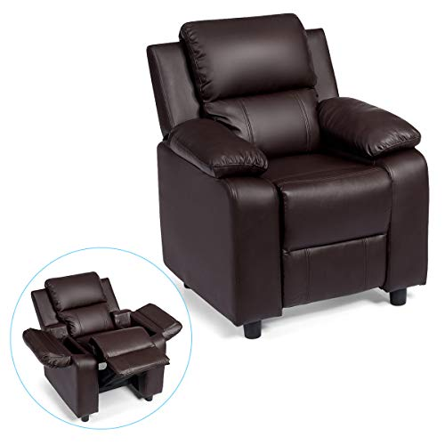 - Costzon Kids Sofa Recliner, Children PU Leather Armchair W/Front Footrest, Flip-up Storage Arms, Padded Backrest, Ergonomic Contemporary Sofa for Toddler Boys Girls, Lightweight Sofa Chair (Brown)