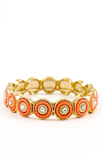 Trendy Fashion Jewelry Round Beads Textured Stretch Bracelet By Fashion Destination | (Orange)