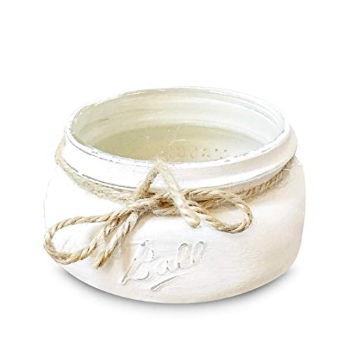 WHITE Half Pint - 8 oz. wide mouth painted mason jar, Great Business Card Holder or Paper Clip Holder, Rustic Desk -