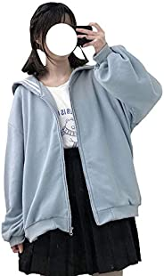Teens Harajuku Hoodie Zipper Top Coat Casual Puff Long Sleeve Cute Girl Solid Color Cozy Jacket