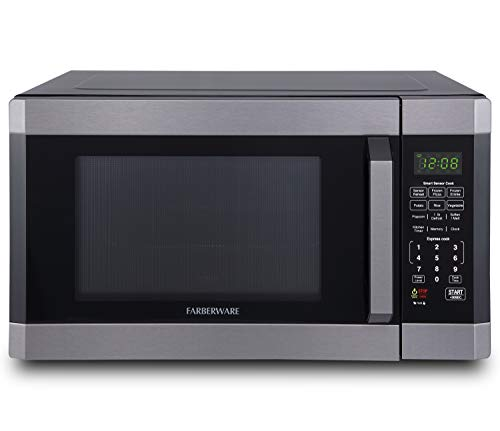 Farberware FMO16AHTBSD Microwave Oven with Smart Sensor Cooking, ECO Mode and LED Lighting, 1.6 Cu. Ft, Black Stainless Steel