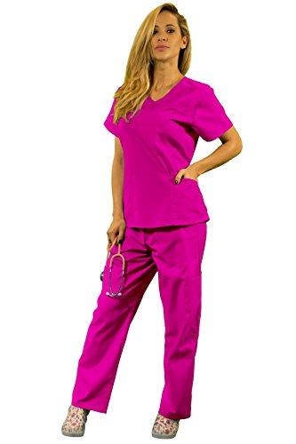 HyBrid & Company Women's Super Comfy Medical Scrubs Set SCR44809 Hot Pink Large
