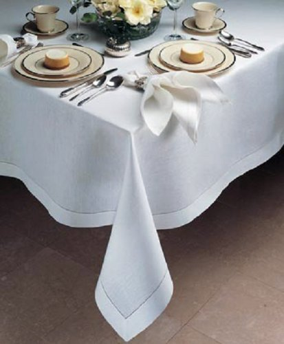 (Fabric Textile Products Loom State Pure Linen Hemstitch Tablecloth White 60