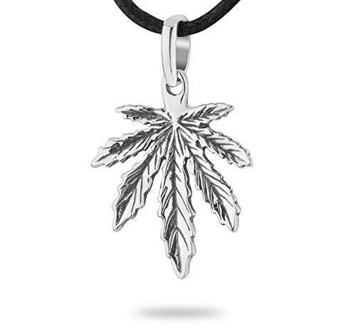 925 Sterling Silver Small Marijuana Pot Leaf Necklace Weed Cannabis Plant Herb Ganja Pendant Choker Charm Rasta Hippie Hip Hop Jewelry Cute Gifts for Men Women Handmade + Free Cord